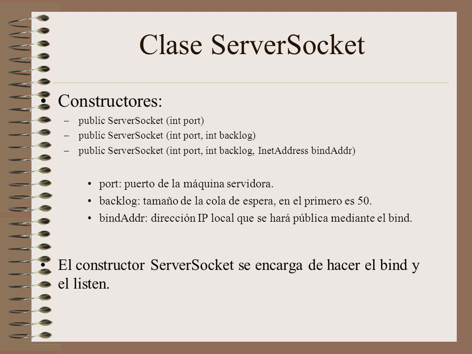 Clase ServerSocket Constructores: