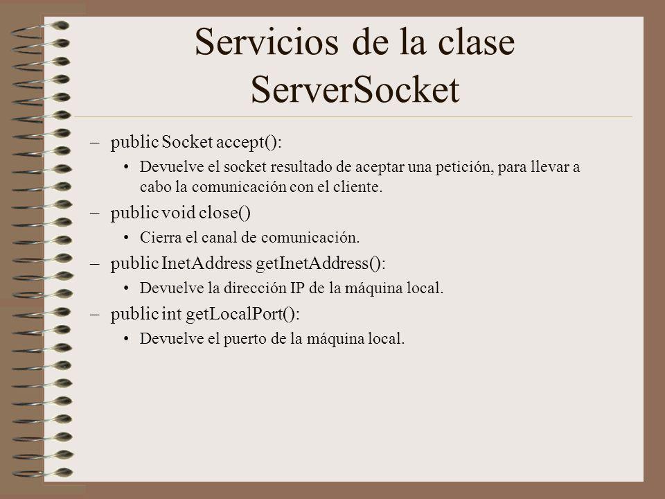Servicios de la clase ServerSocket