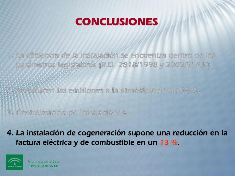 CONCLUSIONES La eficiencia de la instalación se encuentra dentro de los parámetros legislativos (R.D. 2818/1998 y 2002/91/CE)