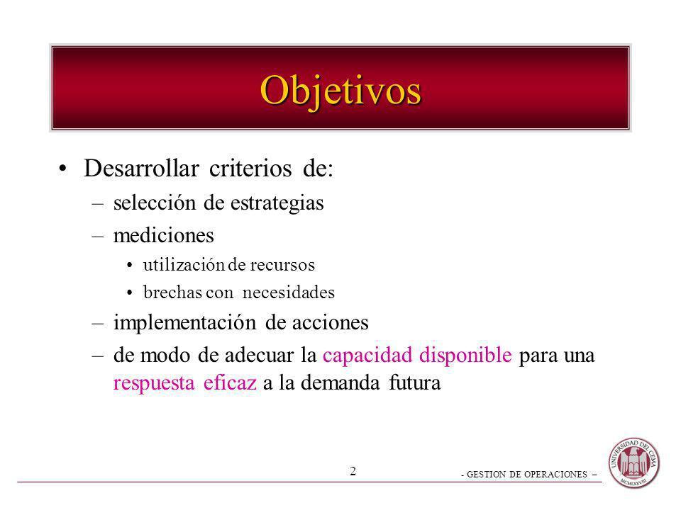 Objetivos Desarrollar criterios de: selección de estrategias