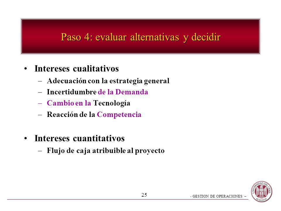 Paso 4: evaluar alternativas y decidir