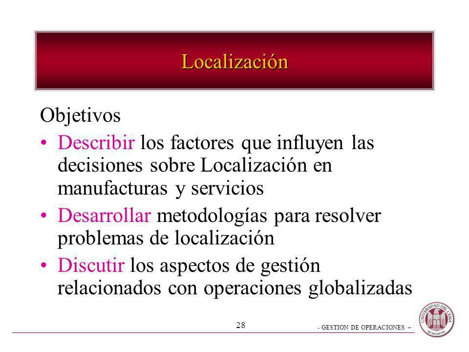 Localización Objetivos. Describir los factores que influyen las decisiones sobre Localización en manufacturas y servicios.