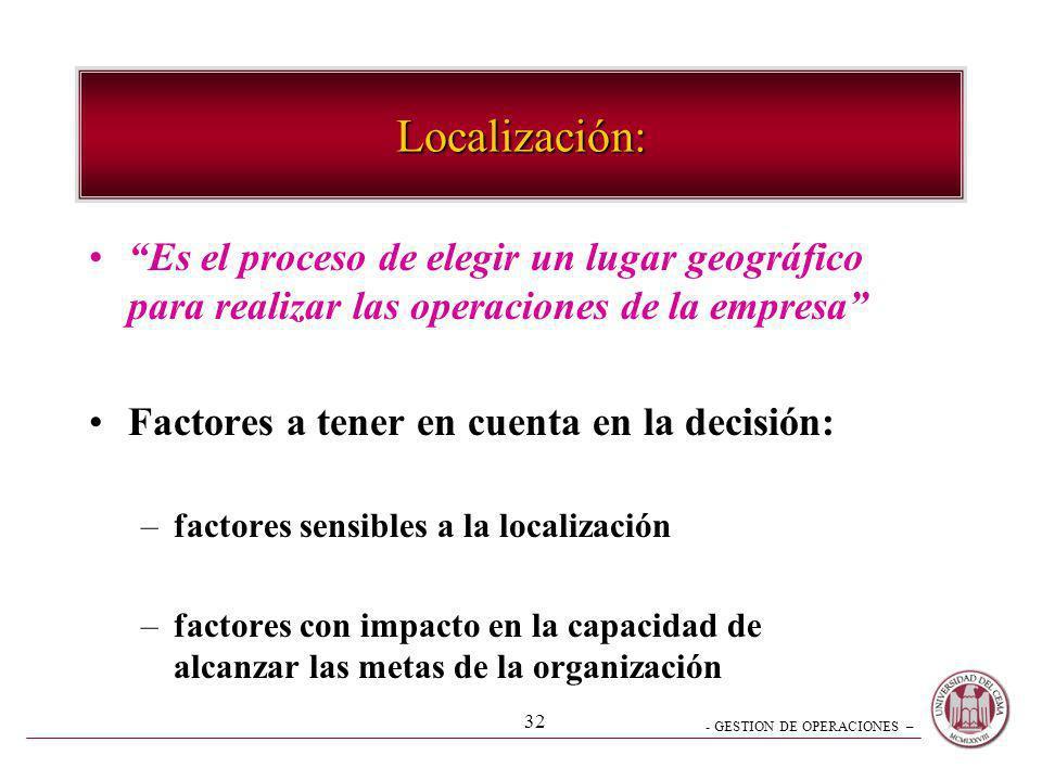 Localización: Es el proceso de elegir un lugar geográfico para realizar las operaciones de la empresa