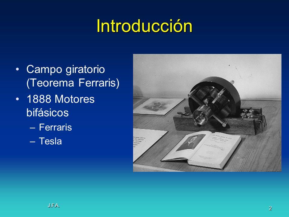 Introducción Campo giratorio (Teorema Ferraris) 1888 Motores bifásicos