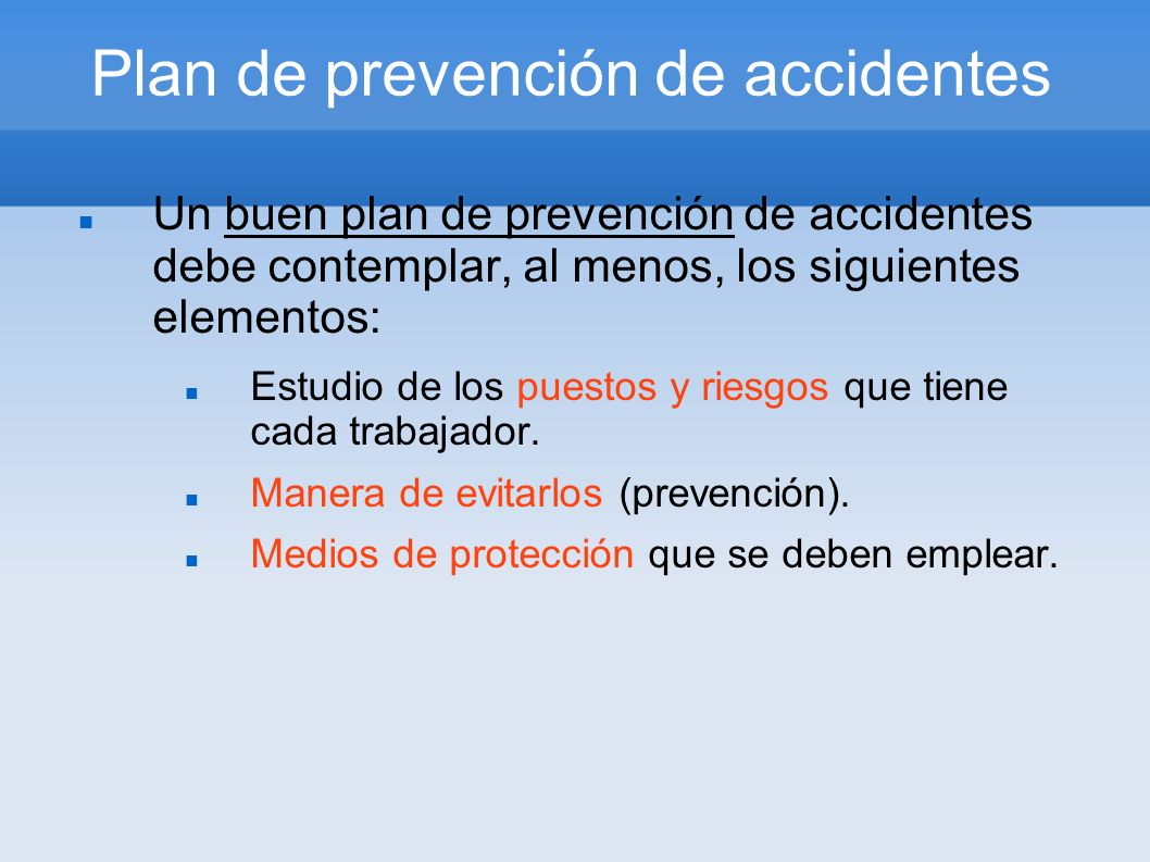 Plan de prevención de accidentes