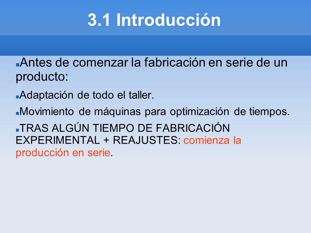 3.1 Introducción Antes de comenzar la fabricación en serie de un producto: Adaptación de todo el taller.