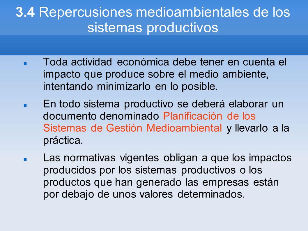 3.4 Repercusiones medioambientales de los sistemas productivos