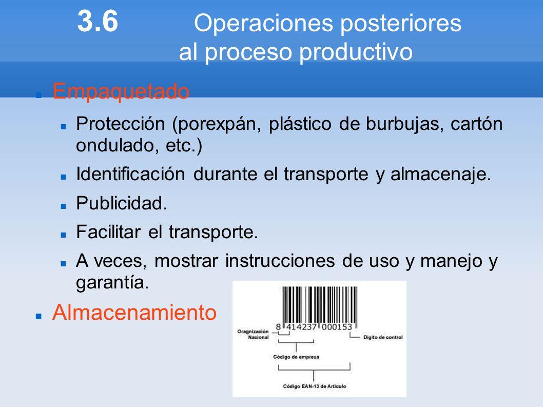 3.6 Operaciones posteriores al proceso productivo