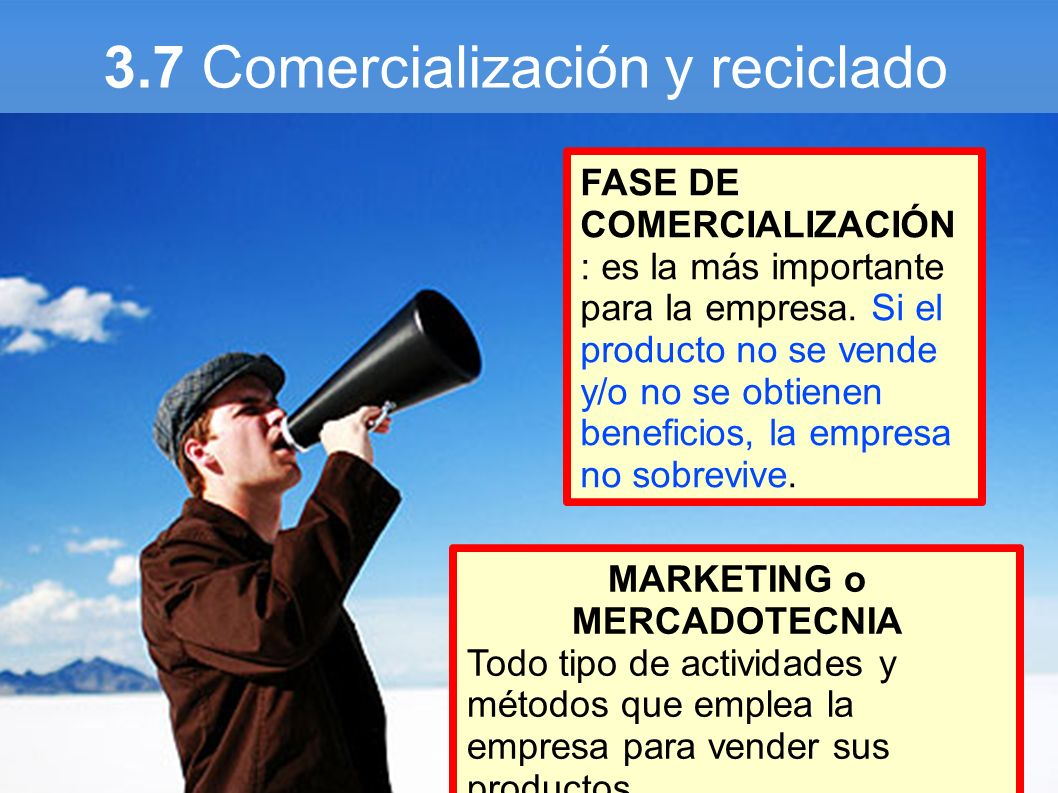 3.7 Comercialización y reciclado