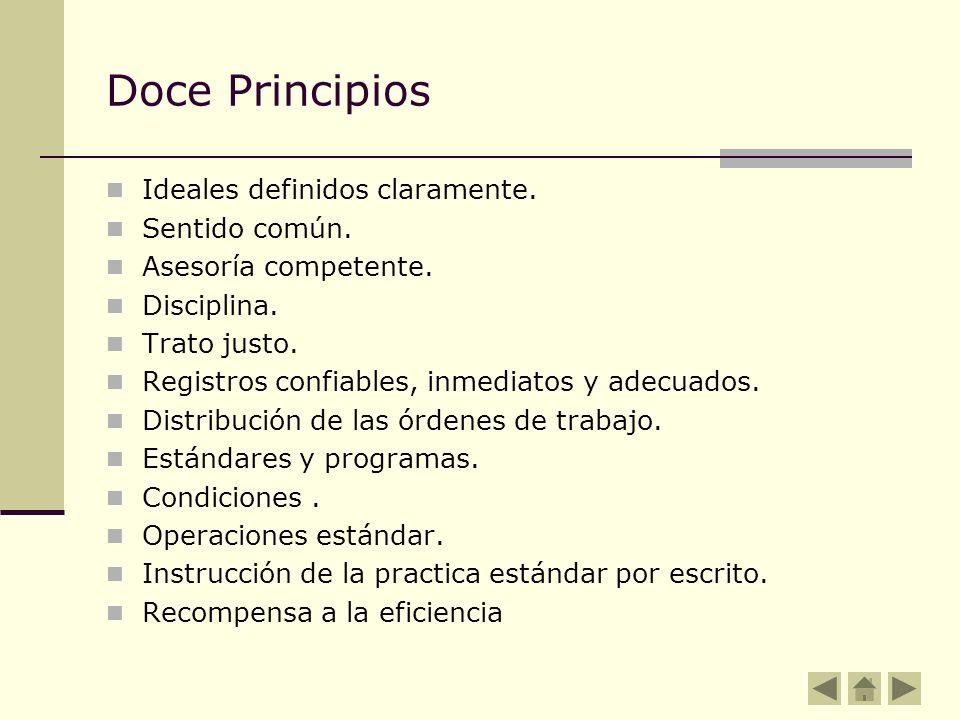 Doce Principios Ideales definidos claramente. Sentido común.