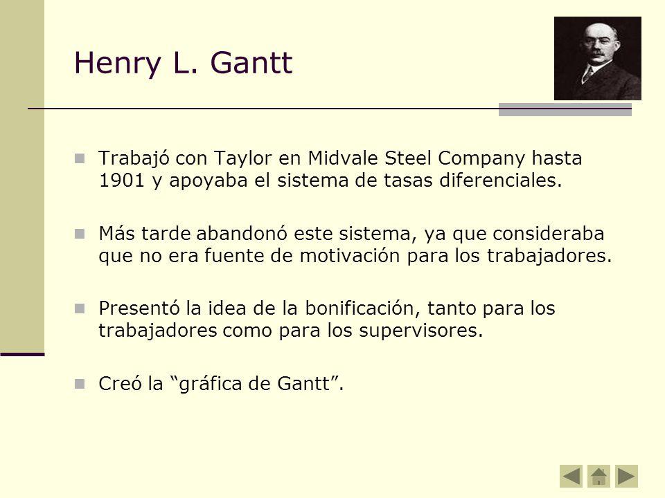 Henry L. Gantt Trabajó con Taylor en Midvale Steel Company hasta 1901 y apoyaba el sistema de tasas diferenciales.