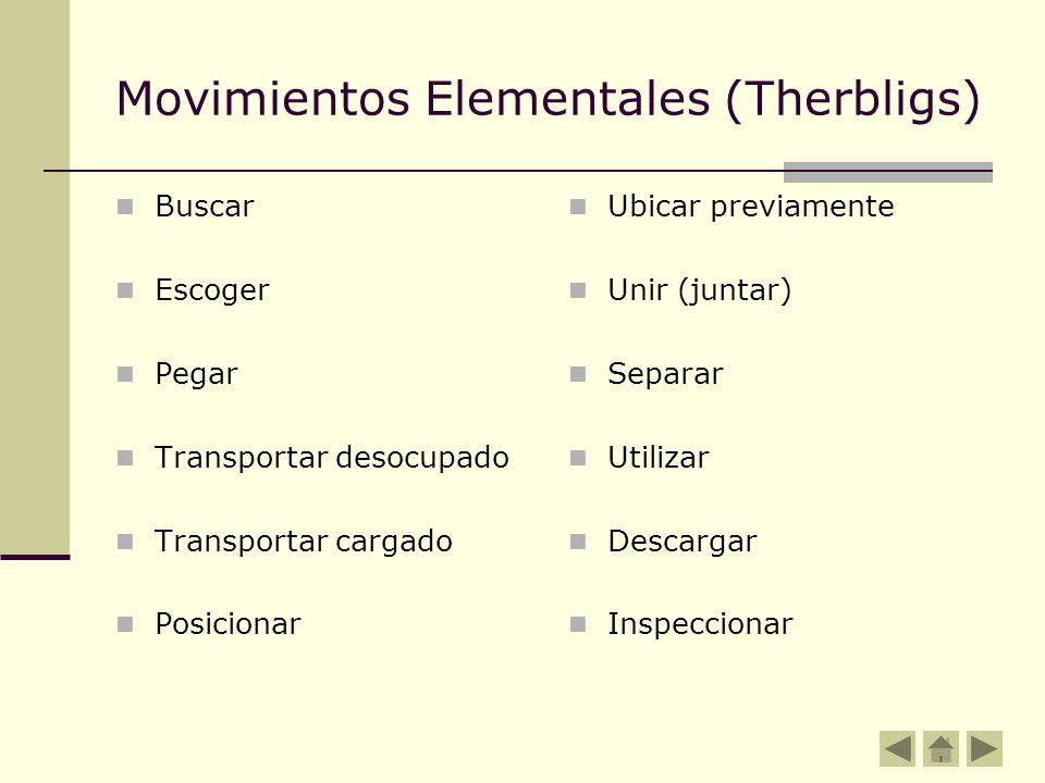 Movimientos Elementales (Therbligs)