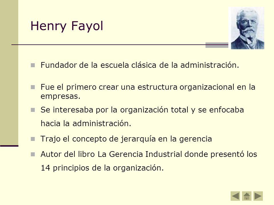 Henry Fayol Fundador de la escuela clásica de la administración.