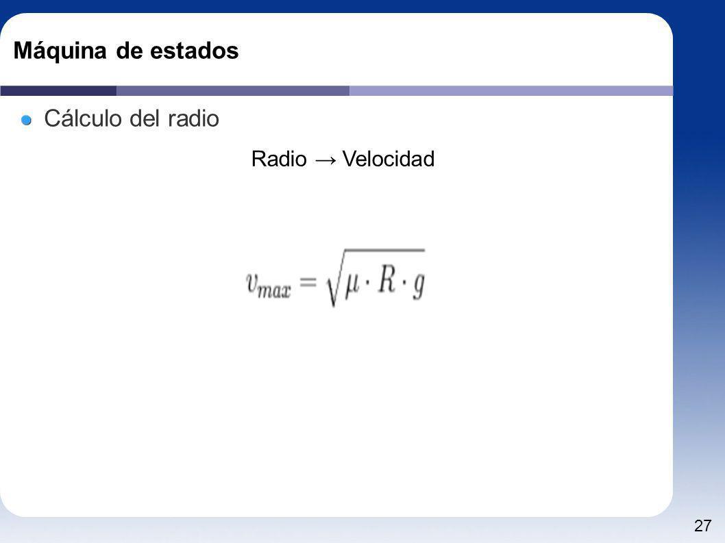Máquina de estados Cálculo del radio Radio → Velocidad
