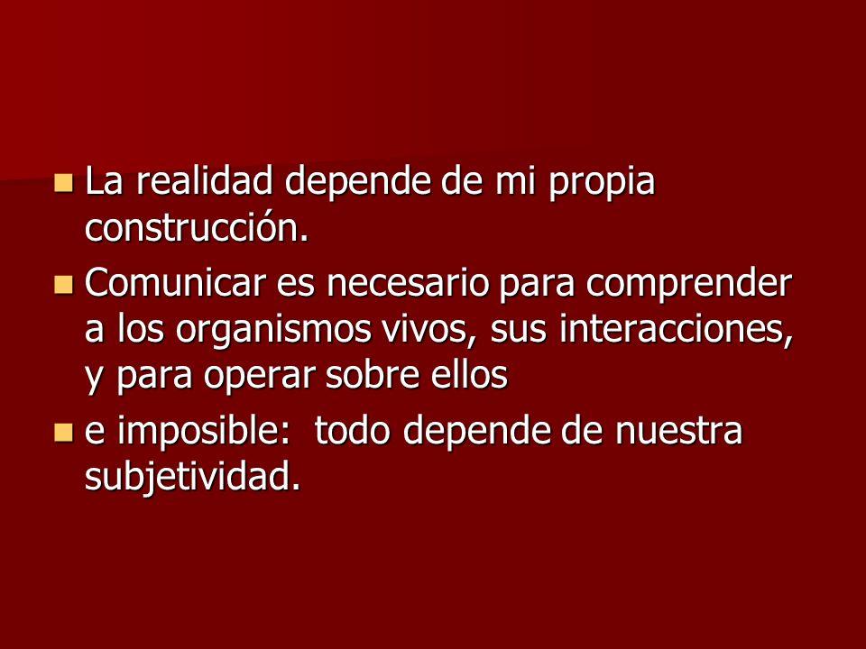 La realidad depende de mi propia construcción.