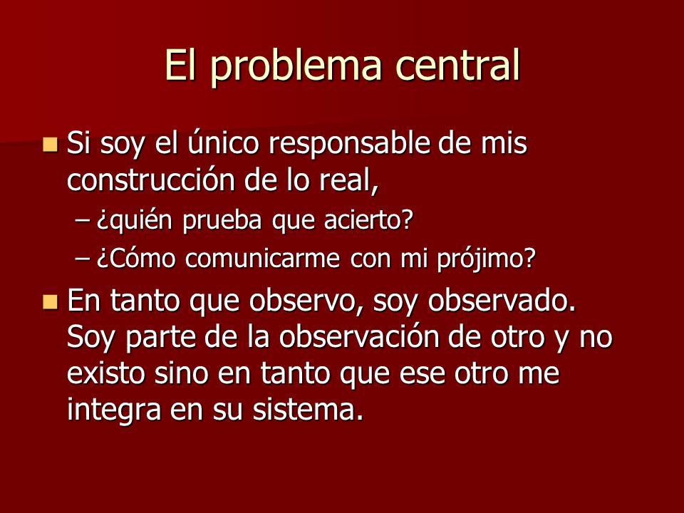 El problema central Si soy el único responsable de mis construcción de lo real, ¿quién prueba que acierto