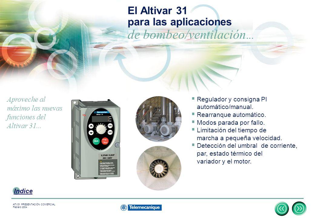 El Altivar 31 para las aplicaciones de bombeo/ventilación...