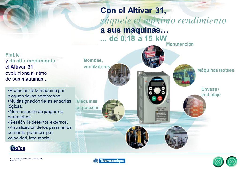 Con el Altivar 31, sáquele el máximo rendimiento a sus máquinas…