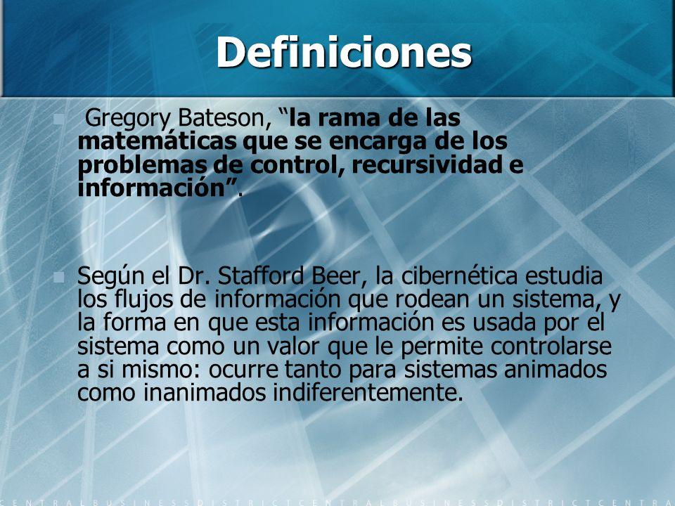 Definiciones Gregory Bateson, la rama de las matemáticas que se encarga de los problemas de control, recursividad e información .