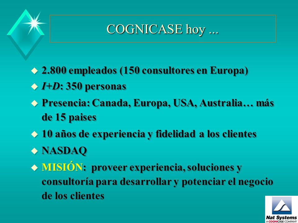 COGNICASE hoy ... 2.800 empleados (150 consultores en Europa)