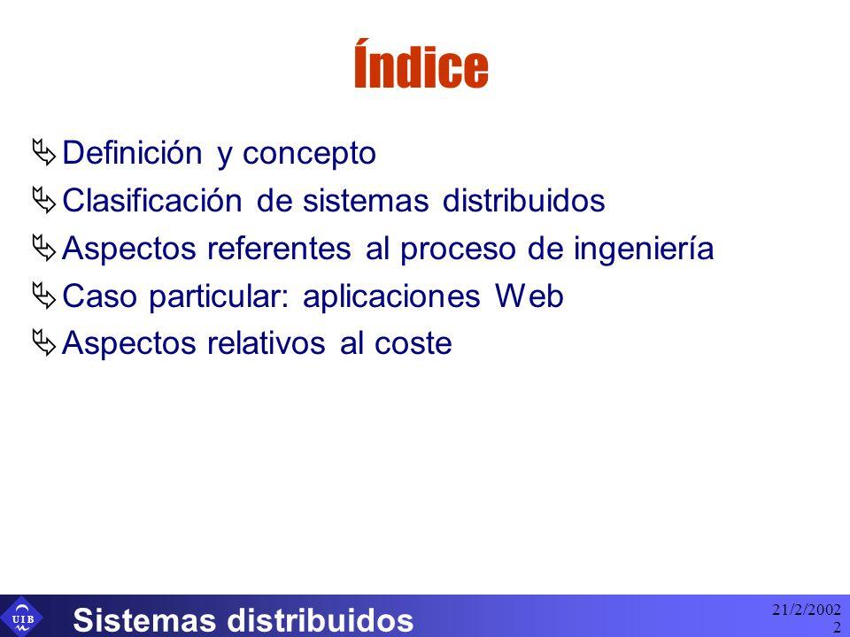 Índice Definición y concepto Clasificación de sistemas distribuidos