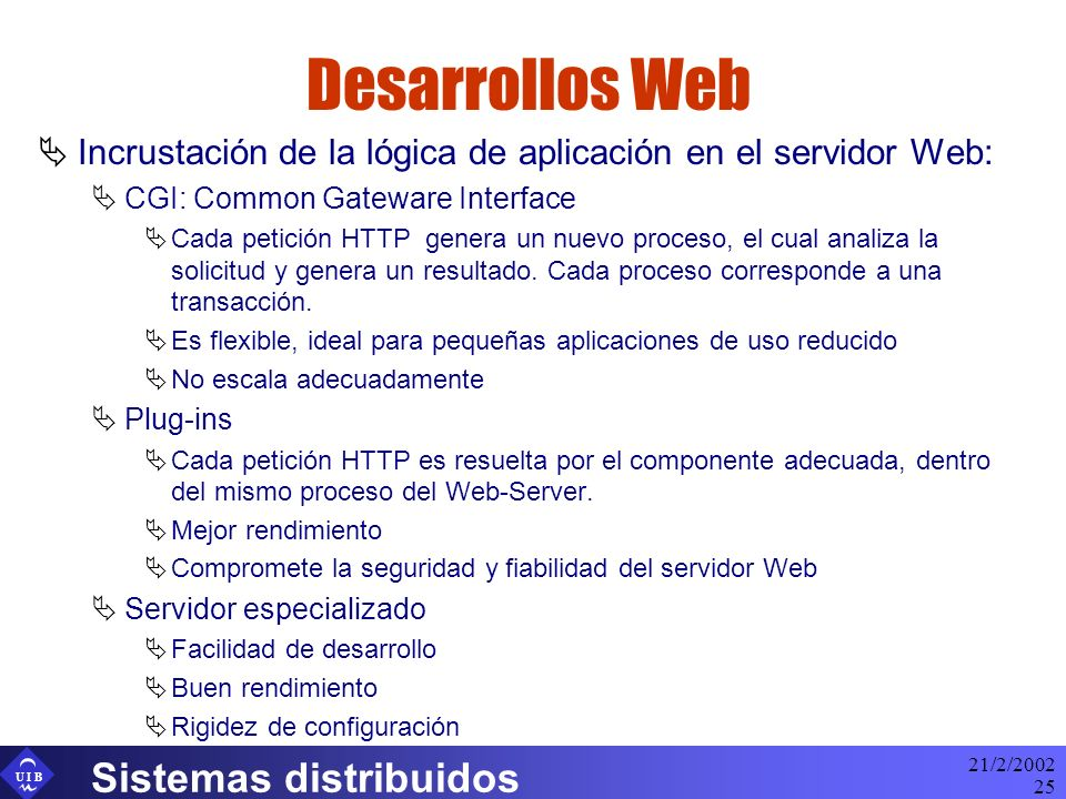 Desarrollos Web Sistemas distribuidos
