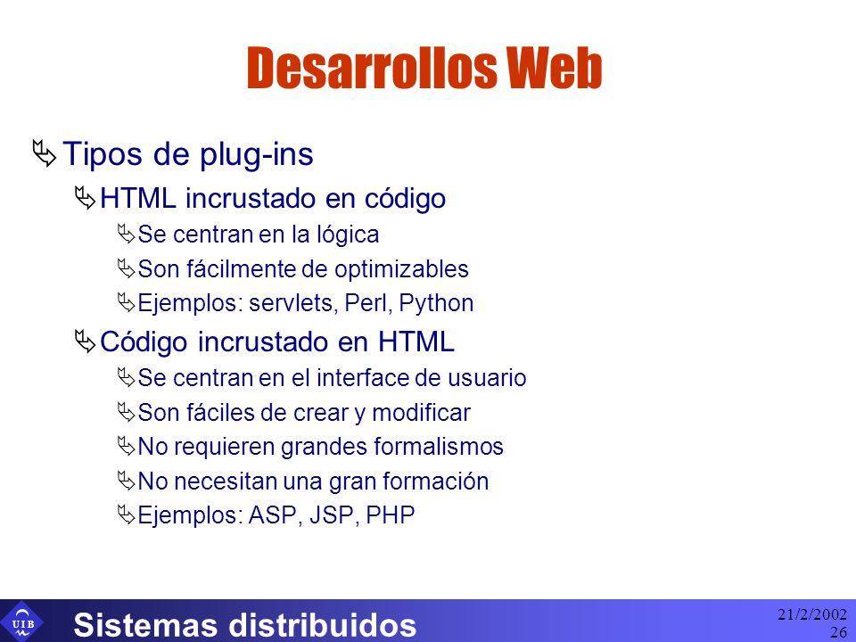 Desarrollos Web Tipos de plug-ins Sistemas distribuidos