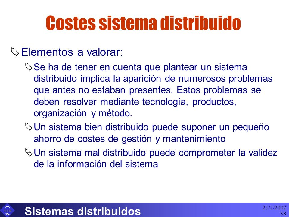Costes sistema distribuido