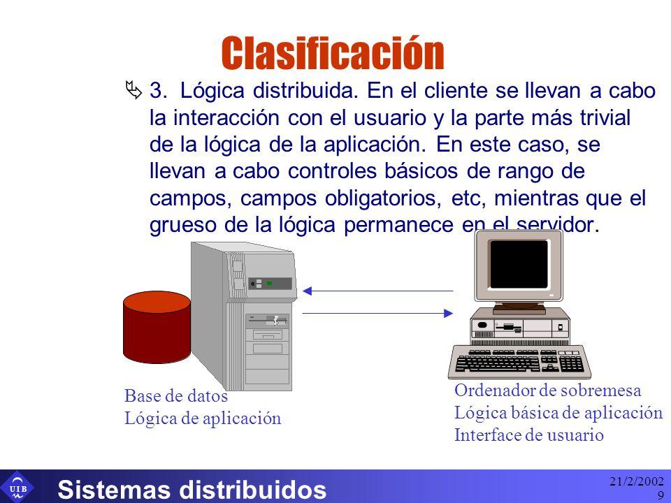 Clasificación Sistemas distribuidos