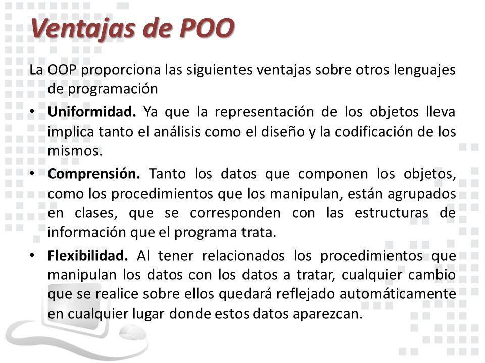 Ventajas de POO La OOP proporciona las siguientes ventajas sobre otros lenguajes de programación.
