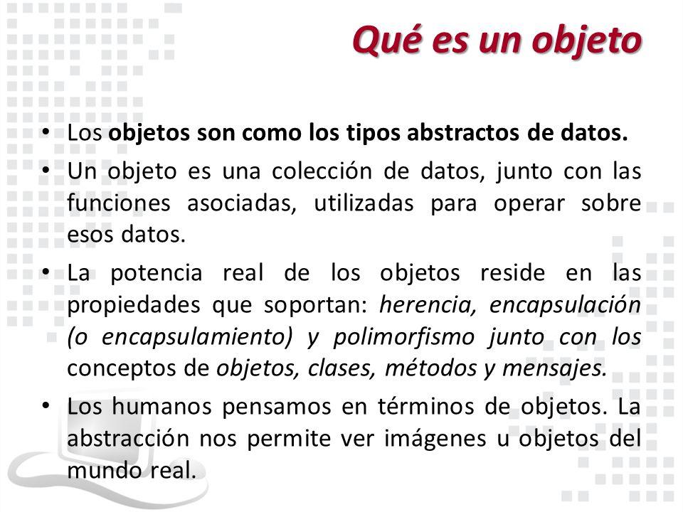 Qué es un objeto Los objetos son como los tipos abstractos de datos.