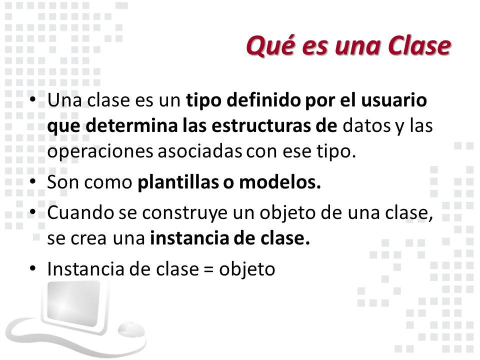Qué es una Clase Una clase es un tipo definido por el usuario que determina las estructuras de datos y las operaciones asociadas con ese tipo.