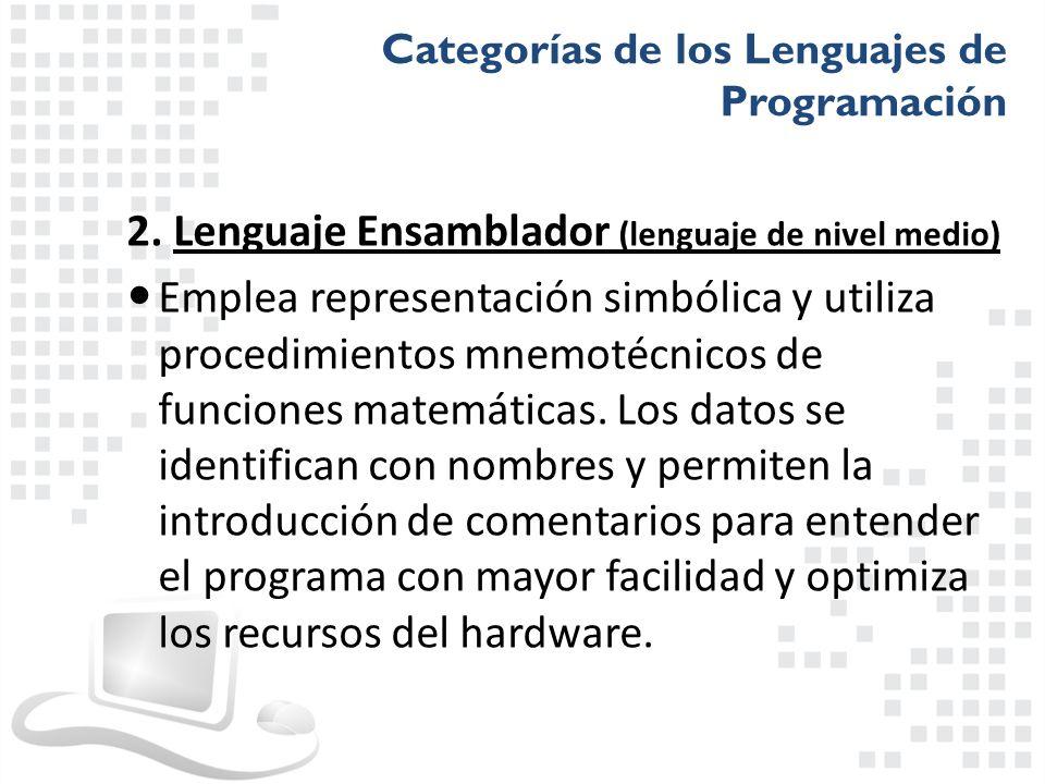 2. Lenguaje Ensamblador (lenguaje de nivel medio)