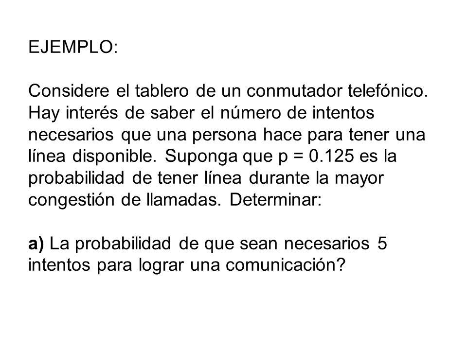EJEMPLO: Considere el tablero de un conmutador telefónico