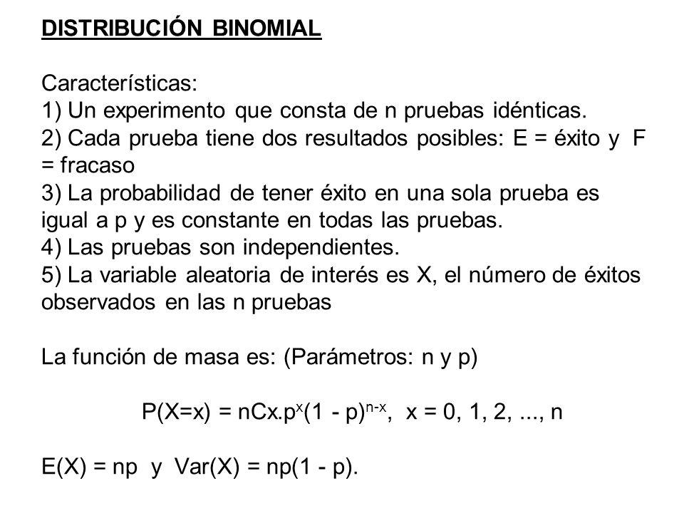 DISTRIBUCIÓN BINOMIAL Características: 1) Un experimento que consta de n pruebas idénticas.