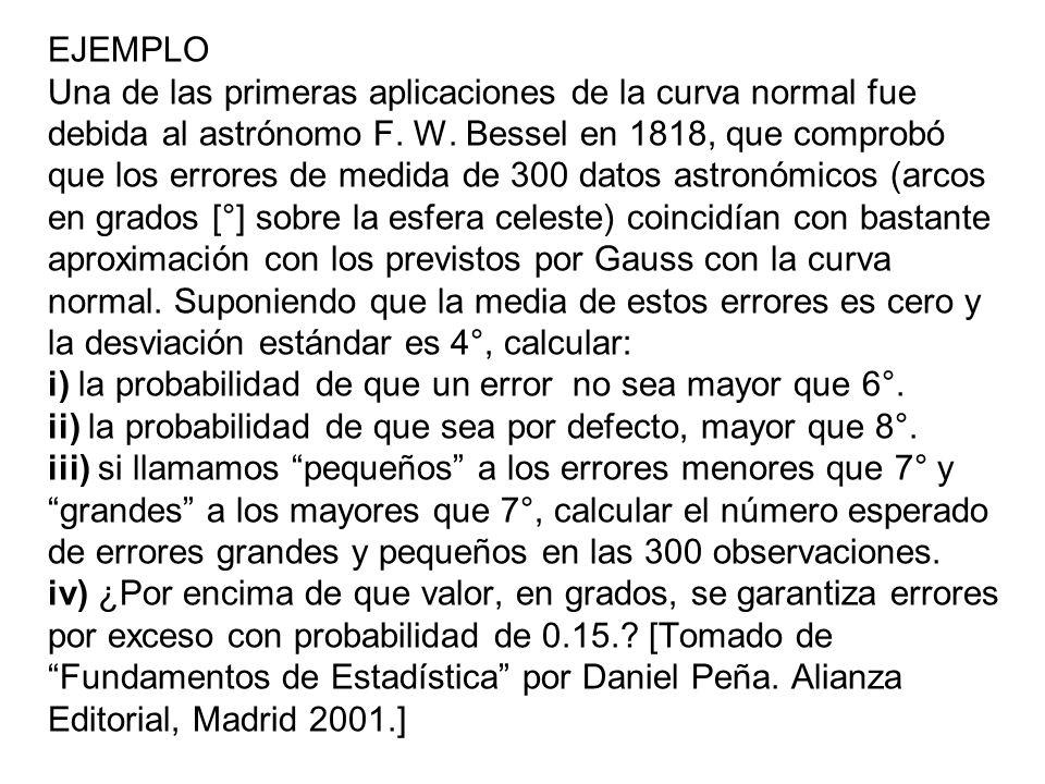 EJEMPLO Una de las primeras aplicaciones de la curva normal fue debida al astrónomo F.