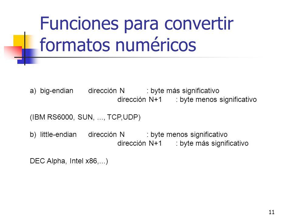 Funciones para convertir formatos numéricos
