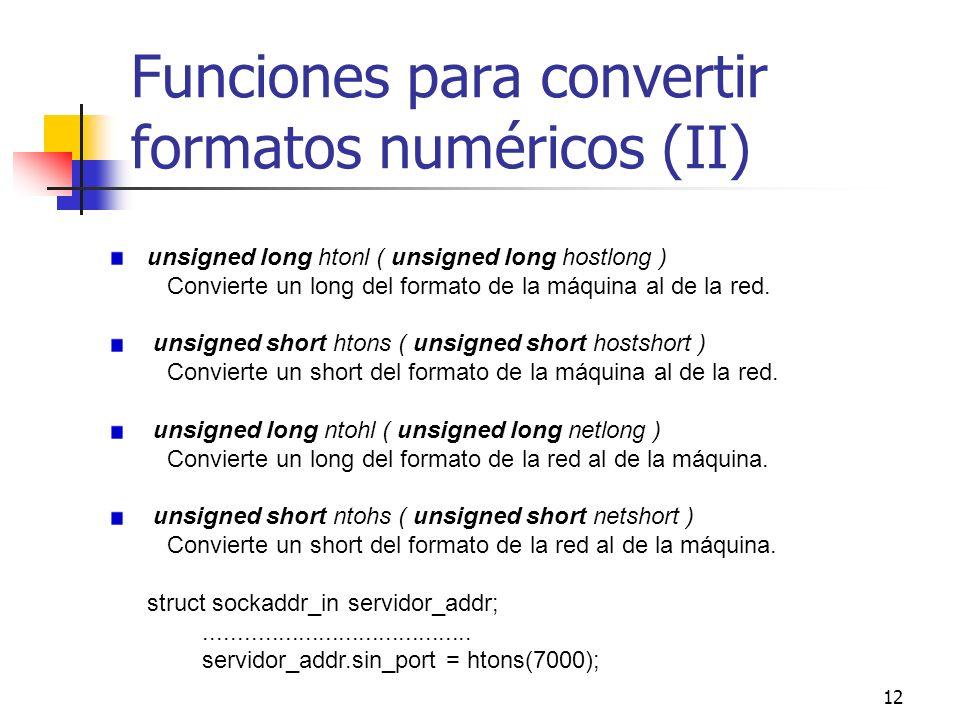 Funciones para convertir formatos numéricos (II)