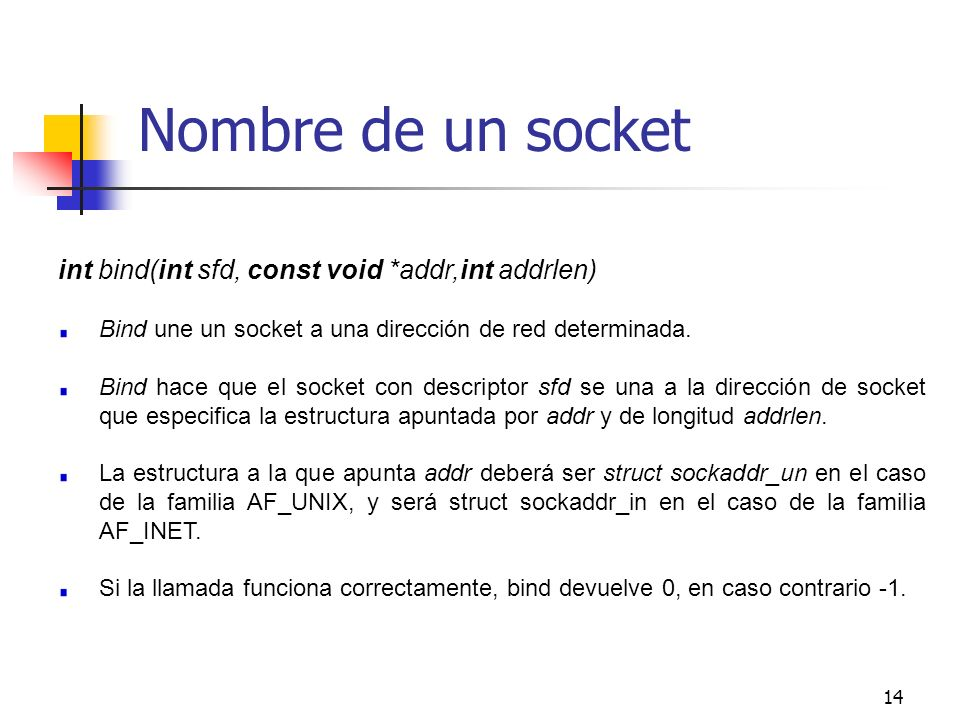 Nombre de un socket int bind(int sfd, const void *addr,int addrlen)