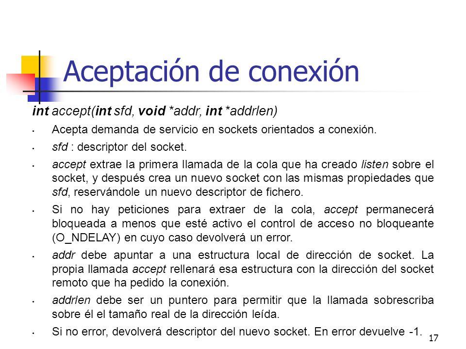 Aceptación de conexión