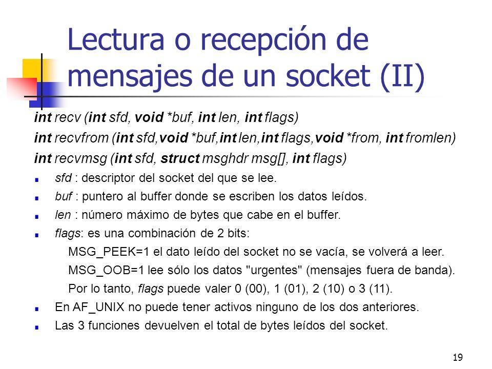 Lectura o recepción de mensajes de un socket (II)