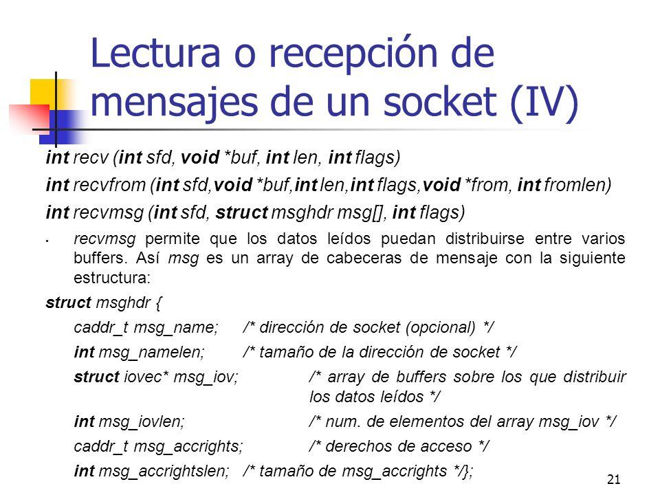 Lectura o recepción de mensajes de un socket (IV)