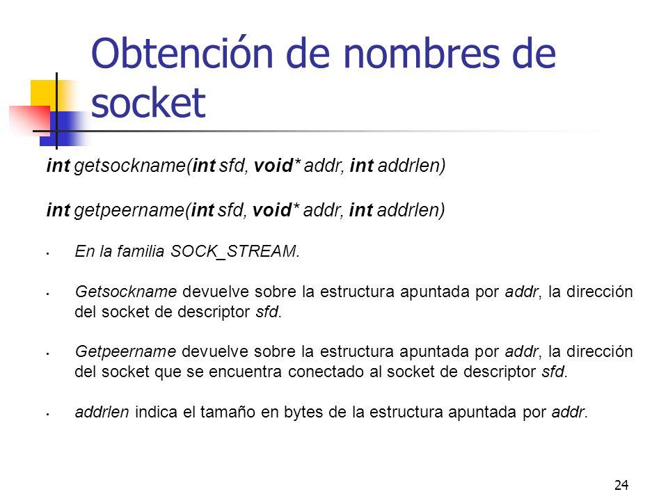 Obtención de nombres de socket