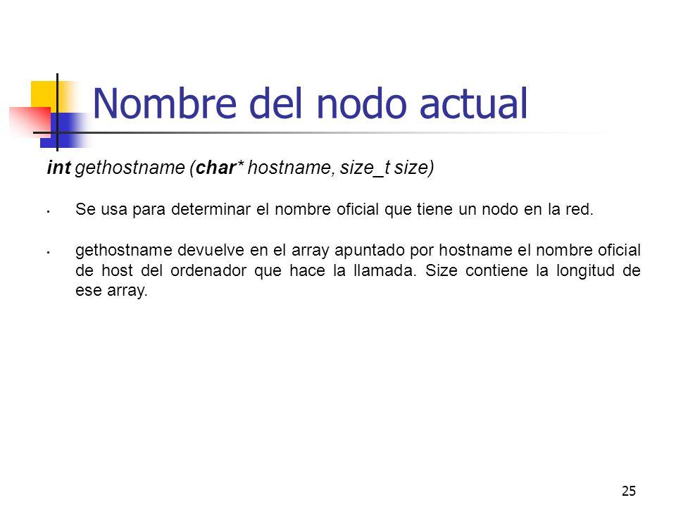 Nombre del nodo actual int gethostname (char* hostname, size_t size)