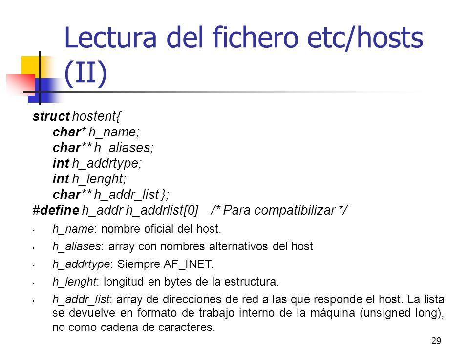 Lectura del fichero etc/hosts (II)