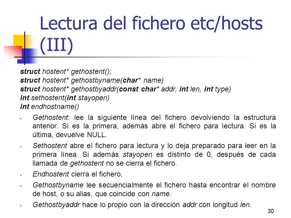 Lectura del fichero etc/hosts (III)