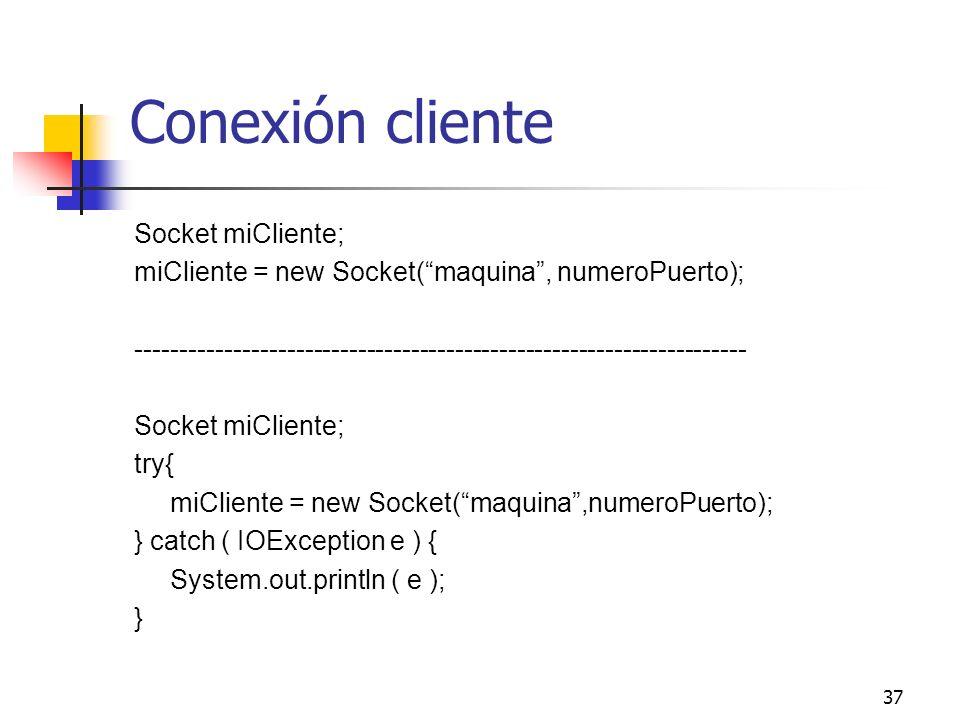 Conexión cliente Socket miCliente;