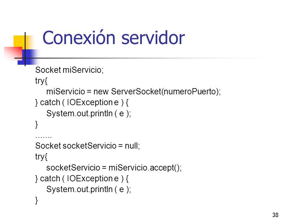 Conexión servidor Socket miServicio; try{