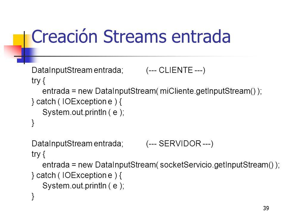 Creación Streams entrada