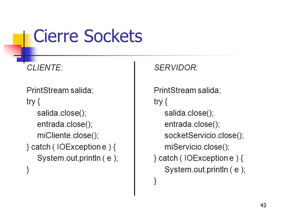 Cierre Sockets CLIENTE: PrintStream salida; try { salida.close();